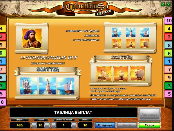 Игровой автомат Columbus Deluxe - путешествие за богатством казино Вулкан